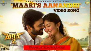 maari's aanandhi song lyrics with english translation/meaning